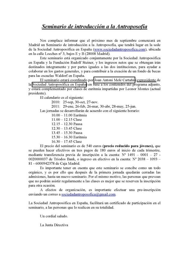 Horarios Seminario de Antroposofia. Madrid