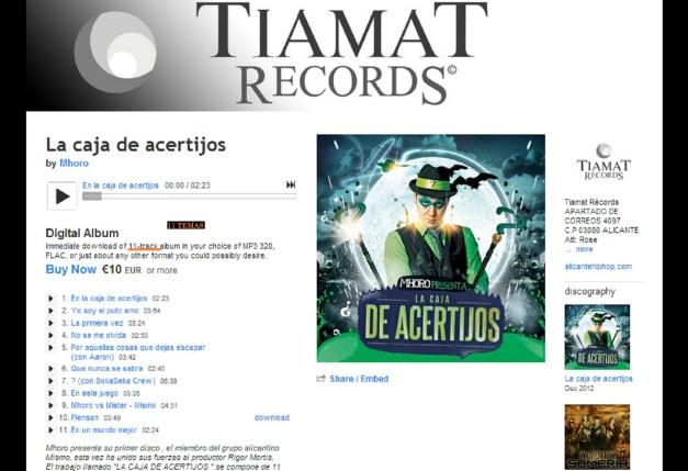 TIAMAT RECORDS; DISCO CAJA DE ACERTIJOS (MHORO) 11 TEMAS 01