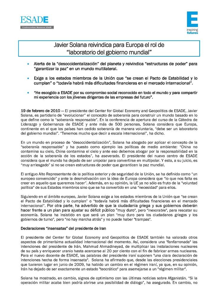 JAVIER SOLANA ESADE GOBIERNO MUNDIAL (01)