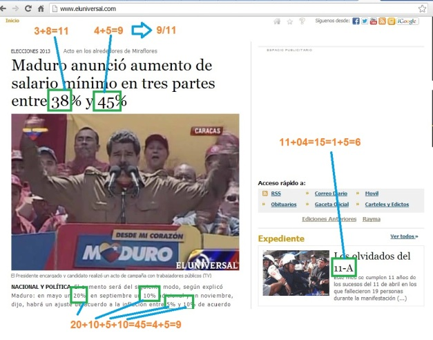 PATRON 3-6-9 NOTICIA EL UNIVERSAL (VENEZUELA)