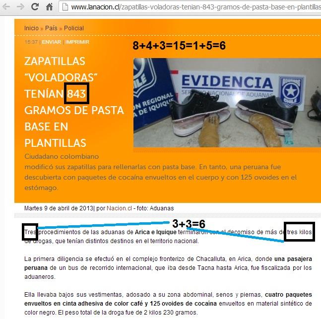 PATRON 3-6-9 NOTICIA LA NACION (CHILE)