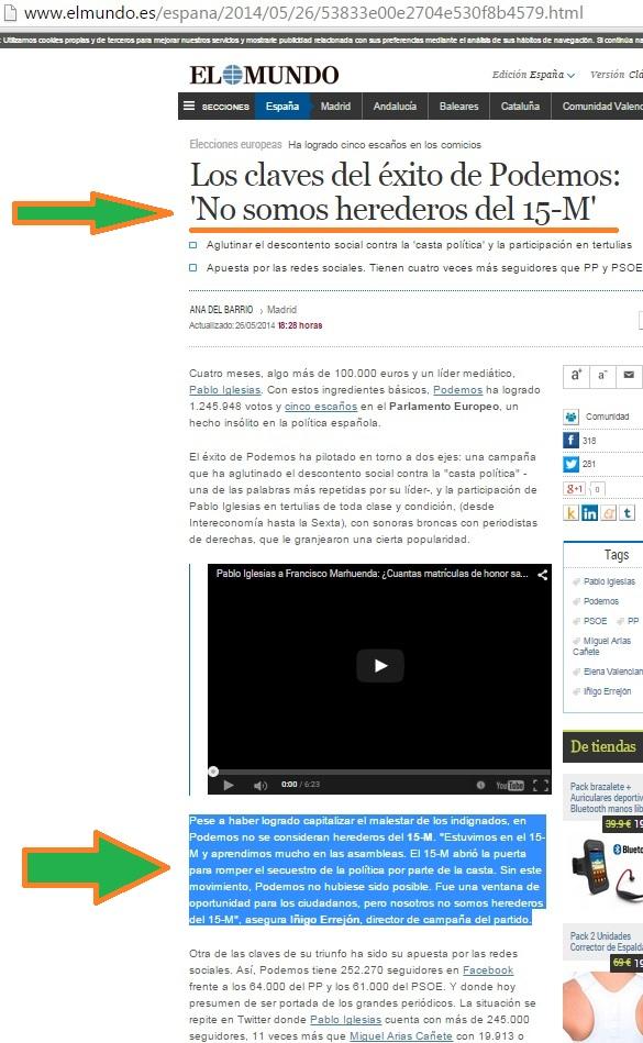 PODEMOS; NO SOMOS HEREDEROS DEL 15-M (00)