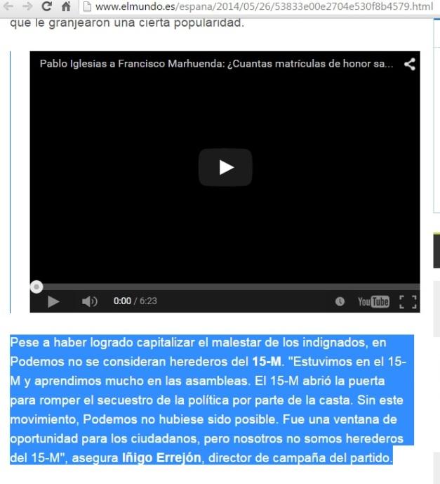 PODEMOS; NO SOMOS HEREDEROS DEL 15-M (01)